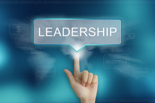 hand clicking on leadership buttonの写真素材 [FYI00643500]