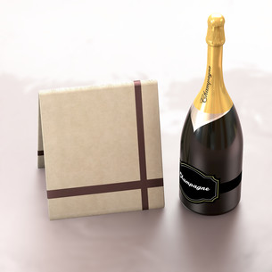 Greeting card with copy left and champagne.の写真素材 [FYI00643557]