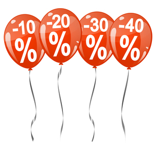 colored balloons with percentage signsの素材 [FYI00643682]