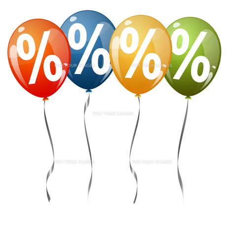 colored balloons with percentage signsの素材 [FYI00643685]