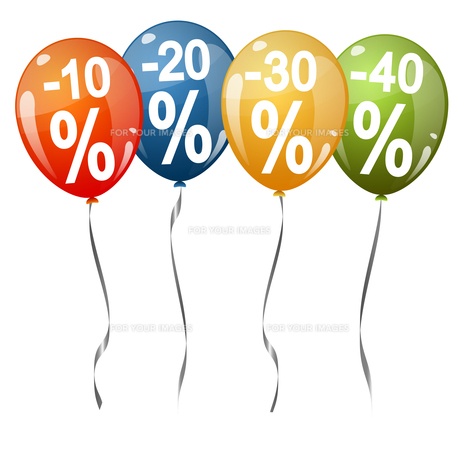 colored balloons with percentage signsの素材 [FYI00643686]