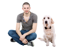 man and dogの写真素材 [FYI00643820]