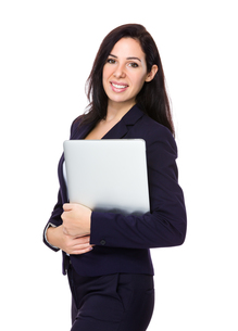 Businesswoman hold with laptopの写真素材 [FYI00643958]