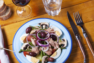french salad nicoise on a plateの写真素材 [FYI00644071]