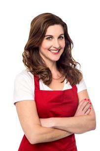 Confident female chef over whiteの写真素材 [FYI00644118]