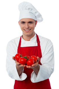 Young chef holding fresh tomatoesの写真素材 [FYI00644171]