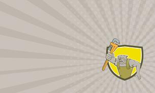 Business card Bulldog Plumber Monkey Wrench Shield Cartoonの写真素材 [FYI00644225]
