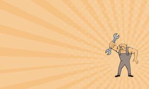 Business card Bulldog Mechanic Spanner Standing Cartoonの写真素材 [FYI00644226]