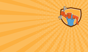 Business card Bulldog Mechanic Holding Spanner Shield Cartoonの写真素材 [FYI00644227]
