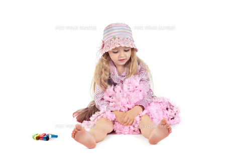 Happy little baby girl in pink tutu skirt and hatの写真素材 [FYI00644253]