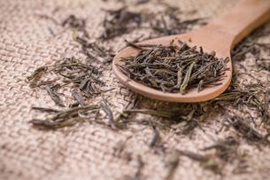 Dry tea in wooden spoonの写真素材 [FYI00644311]