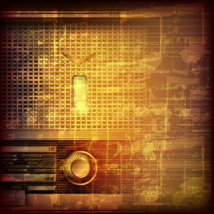 abstract grunge music background with retro radioの写真素材 [FYI00644369]
