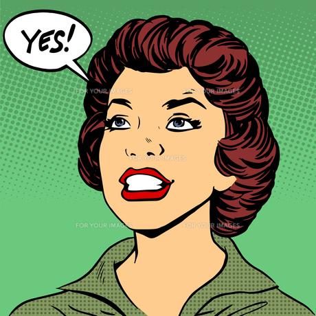 Black woman says Yes pop art comics retro style Halftoneの写真素材 [FYI00644377]