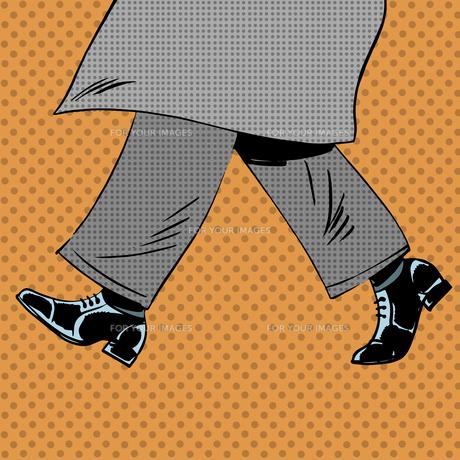 Male feet are shoes wind coat pop art comics retro style Halftonの素材 [FYI00644379]
