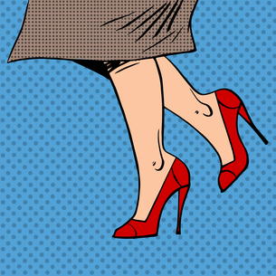 Female legs in red shoes woman coat goes pop art comics retro stの写真素材 [FYI00644381]