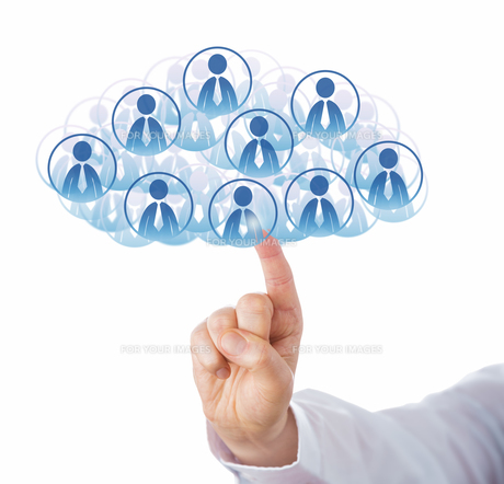 Finger Touching Cloud Of Many Office Worker Iconsの写真素材 [FYI00644552]