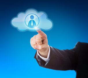 Arm Pointing At Knowledge Worker In Cloud Iconの写真素材 [FYI00644553]