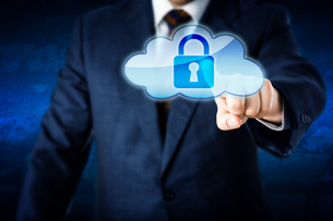 Business Man In Suit Touching Locked Cloud Iconの写真素材 [FYI00644561]