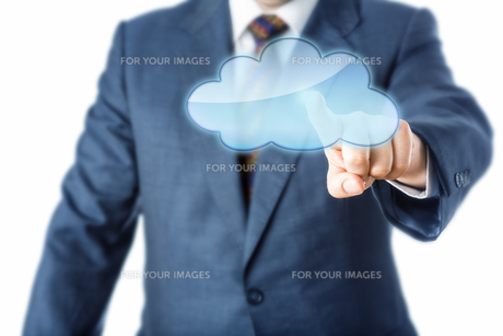 Torso Of Business Person Touching Blank Cloud Iconの写真素材 [FYI00644563]