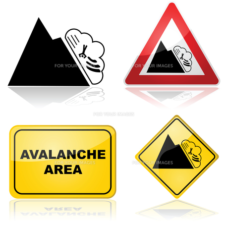 Avalanche signsの写真素材 [FYI00644570]