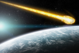 Meteorite impact on a planet in spaceの写真素材 [FYI00644591]