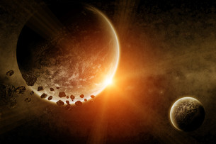 Meteorite impact on a planet in spaceの写真素材 [FYI00644597]