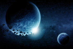 Meteorite impact on a planet in spaceの写真素材 [FYI00644600]