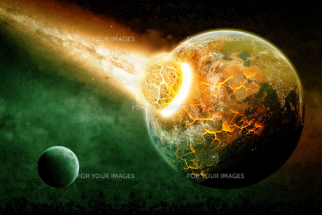 Meteorite impact on a planet in spaceの写真素材 [FYI00644604]
