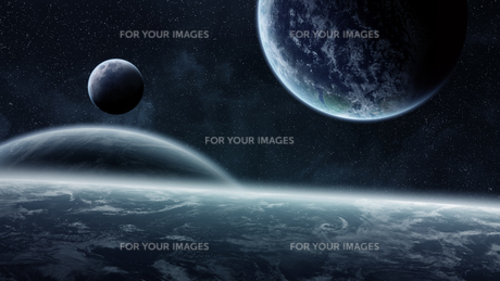 Sunrise over planets in spaceの写真素材 [FYI00644636]