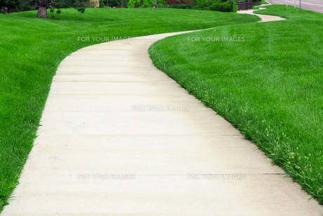 Pathway through green lawnの写真素材 [FYI00644676]