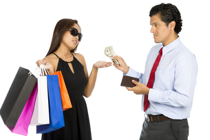 Asian Wife Shopping Demanding More Cash  Husbandの写真素材 [FYI00644692]