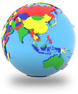 Southeast Asia on the globeの写真素材 [FYI00644786]