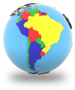 South America on the globeの写真素材 [FYI00644793]