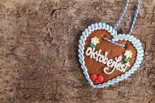 bavarian oktoberfest gingerbread heartの写真素材 [FYI00644796]
