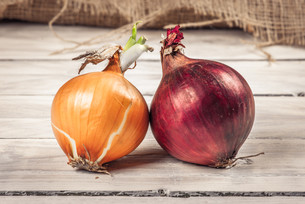 Onions on a wooden tableの写真素材 [FYI00645030]