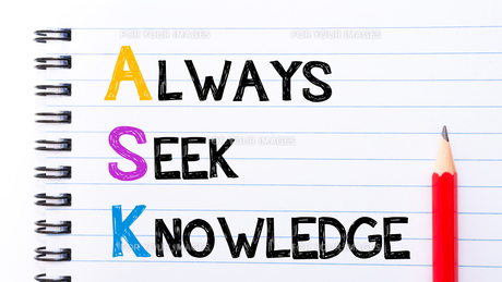 ASK as Always Seek Knowledge text on notebookの写真素材 [FYI00645044]