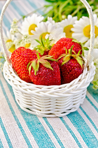 Strawberries in a basket on napkinの写真素材 [FYI00645277]