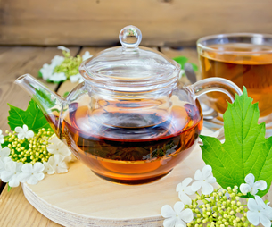 Tea from flowers of viburnum in glass teapot on boardの写真素材 [FYI00645441]