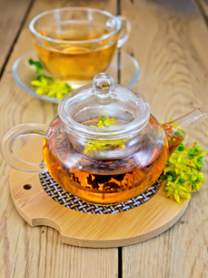 Herbal tea from tutsan in glass teapot on stand with cupの写真素材 [FYI00645467]