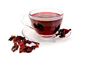 Tea hibiscus in glass cupの写真素材 [FYI00645473]