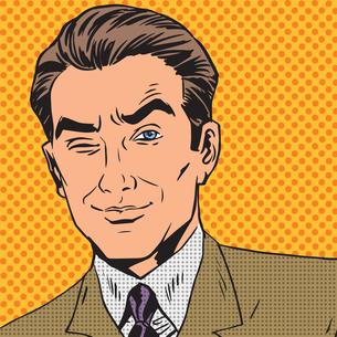 man looks up closing one eye pop art comics retro style Halftoneの写真素材 [FYI00645654]
