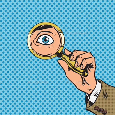 Look through a magnifying glass searching eyes pop art comics reの写真素材 [FYI00645656]