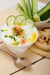 Arab middle east goat yogurt and cucumber saladの写真素材 [FYI00645745]