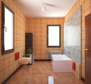 3D interior rendering of a bathroom with furnituresの写真素材 [FYI00645777]