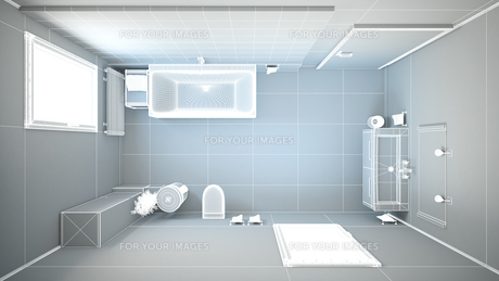 3D interior rendering of a bathroom with furnituresの写真素材 [FYI00645778]