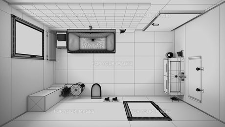 3D interior rendering of a bathroom with furnituresの写真素材 [FYI00645779]