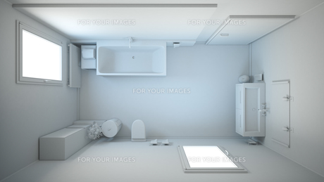 3D interior rendering of a bathroom with furnituresの写真素材 [FYI00645780]