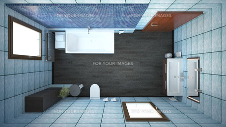 3D interior rendering of a bathroom with furnituresの写真素材 [FYI00645781]