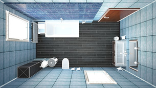3D interior rendering of a bathroom with furnituresの写真素材 [FYI00645782]