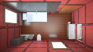 3D interior rendering of a bathroom with furnituresの写真素材 [FYI00645783]